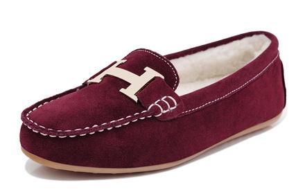 休闲豆豆鞋酒红色