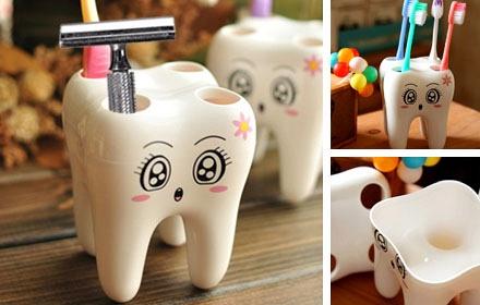 精致牙齿造型,可以放牙刷或者剃须刀