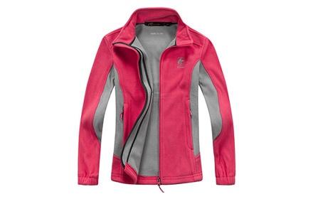 桃红色圆领外套搭配