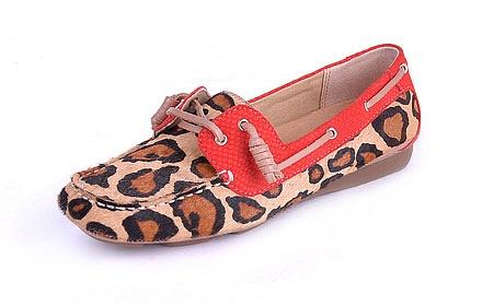 豹纹真皮单鞋女鞋