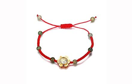 花朵红绳手链编法图解