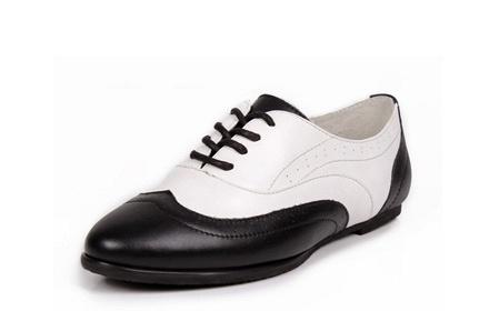 复古英伦风真皮牛津鞋黑白