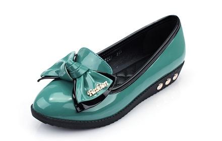 版女鞋漆皮蝴蝶结圆头单鞋