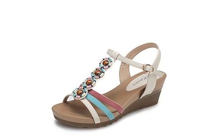 波西米亚串珠女凉鞋白色