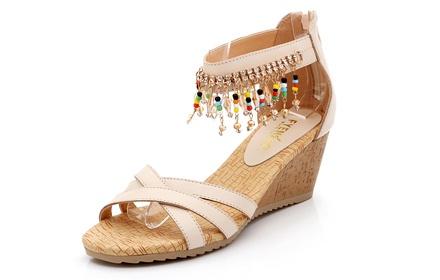 新款坡跟波西米亚凉鞋