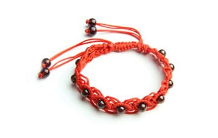 石榴石纯手工编绳嵌珠手链
