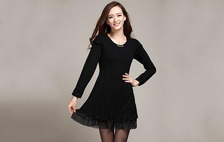 午后暖阳圆领包边针织连衣裙黑色