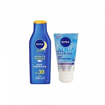妮维雅(Nivea)防晒隔离润肤露SPF30PA++75ml+凝水活采泡沫洁面乳50g