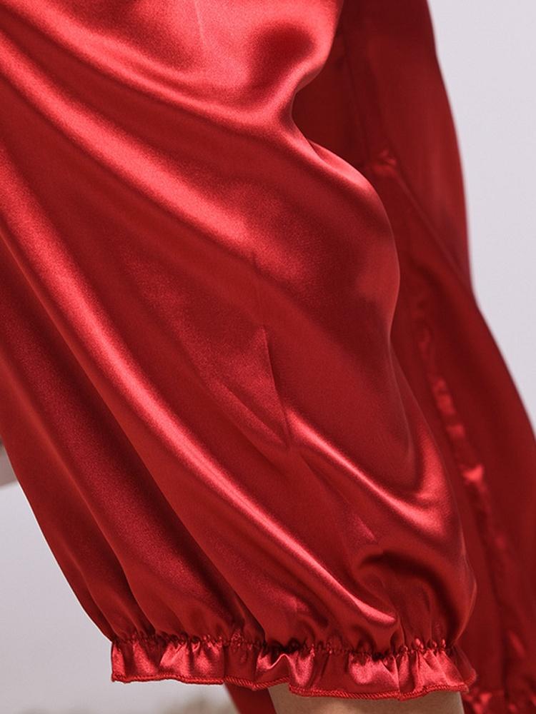 镂空蕾丝花边两件套酒红