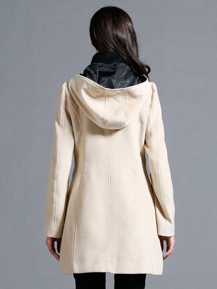 冬新款撞色修身腰带帽领妮子毛呢大衣