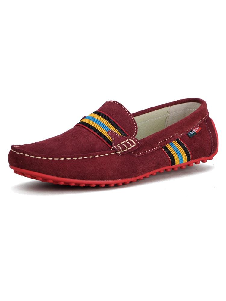 舒适豆豆鞋5132酒红色