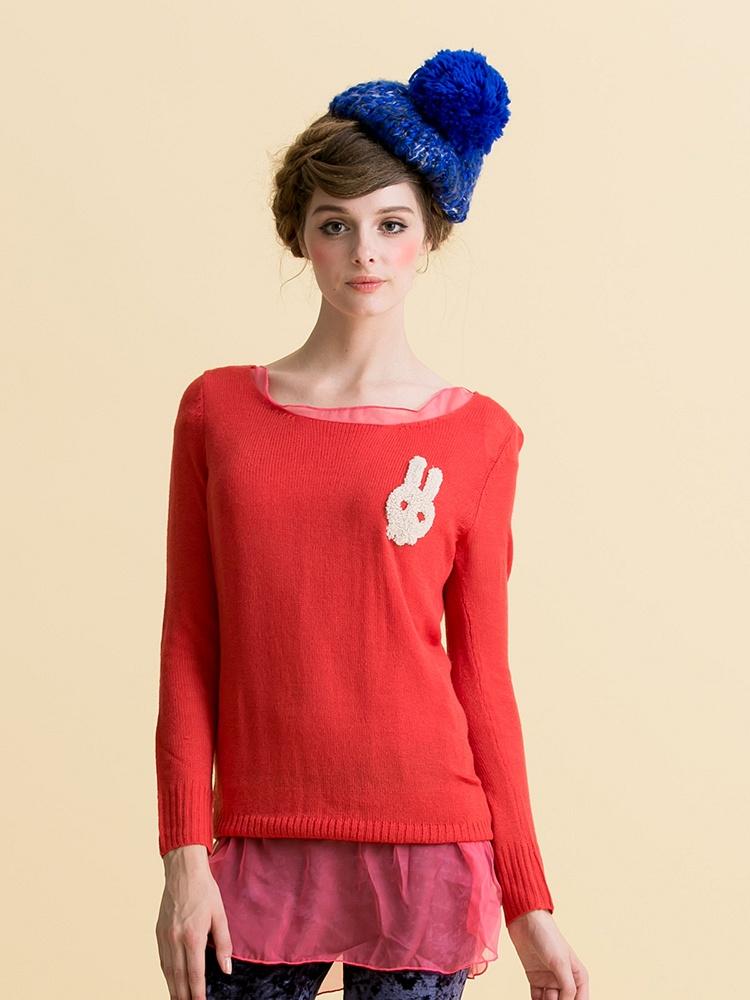 茵佳妮秋装新款可爱卡通小兔子纯色大圆领长袖毛衣