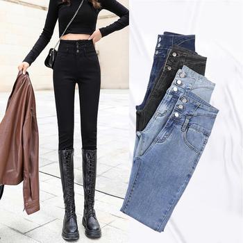 女装加绒加厚保暖牛仔长裤W6118-5