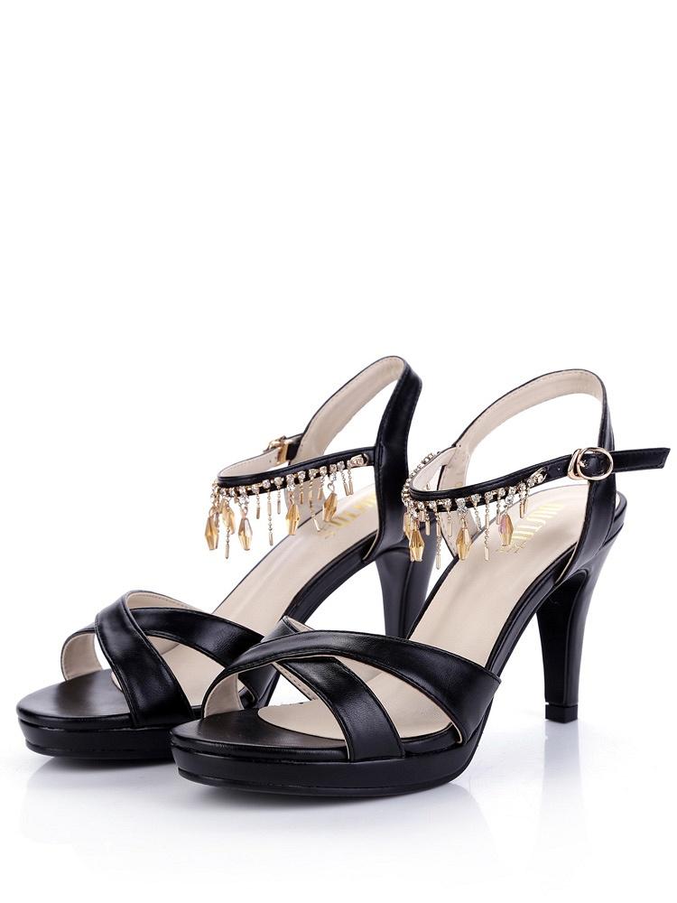 大东 甜美流苏女凉鞋D4X1275黑色 - 聚美优品
