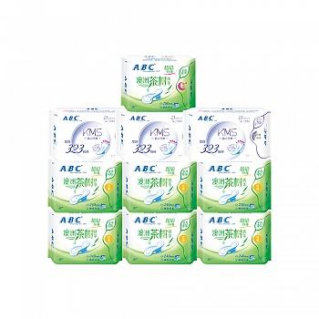 中国•ABC茶树精华卫生巾组合10包(日48片+夜8片+加长夜用9片)