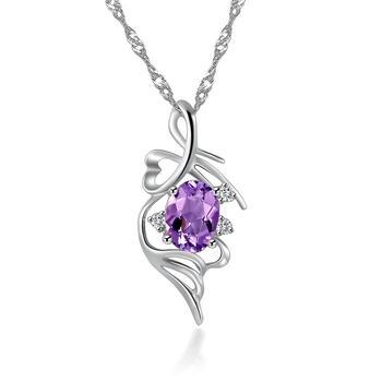 柏荷baihe银镶浪漫紫晶镶嵌宝项链