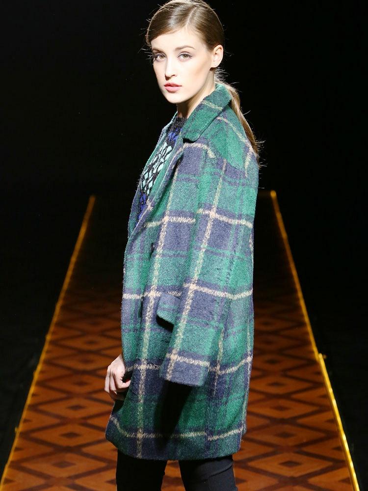 九茵 中长款绿格毛呢大衣 - 聚美优品 - 最大正品