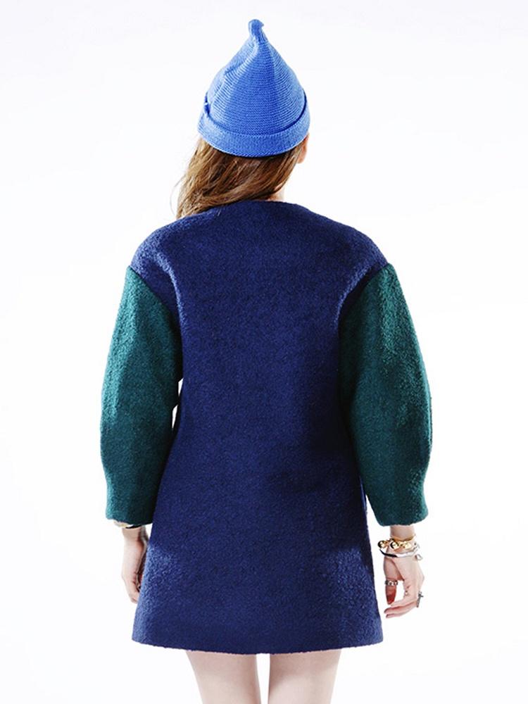 CIAO!俏藏蓝色彩钻撞色拼接呢大衣设计小户型开放式图片