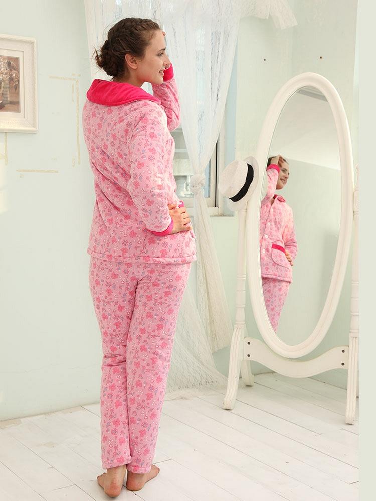 棉袄可爱卡通居家服 三层加厚睡衣女珊瑚绒夹棉套装