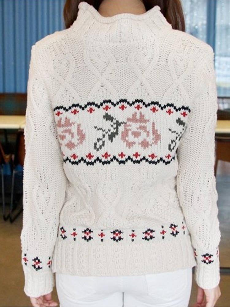 可爱花边花纹图案毛衣