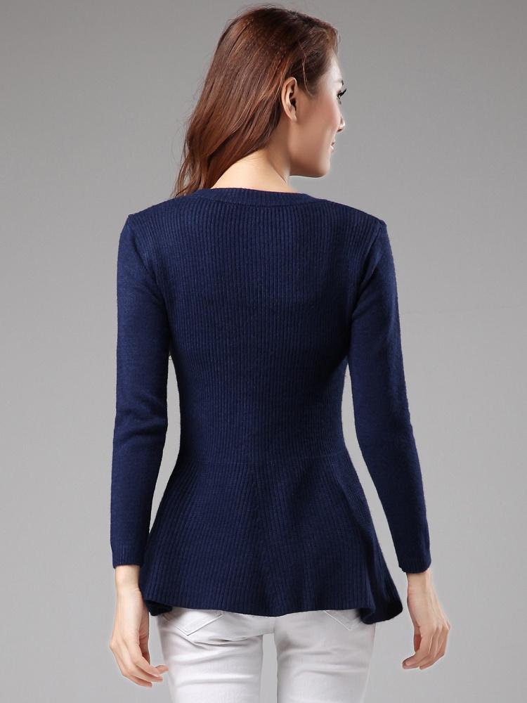优雅时尚荷叶摆深蓝色毛衣