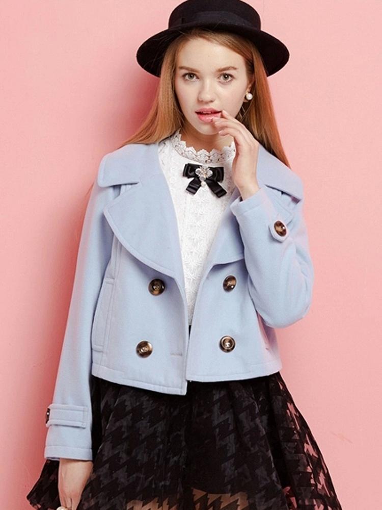 CICI-SHOP 粉蓝色短款呢子大衣 - 聚美优品 - 最