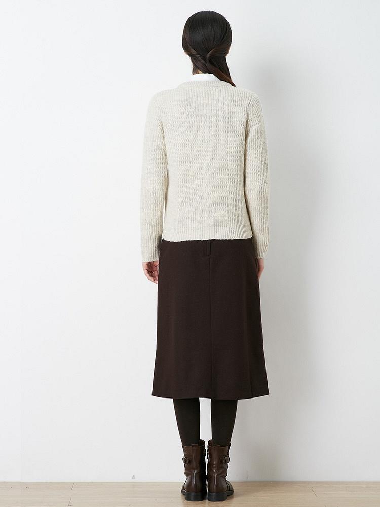 圆领针织衫毛衣外套 灰白
