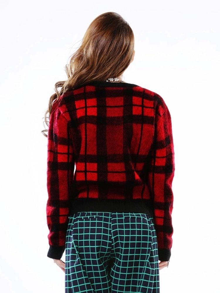 砖红色套头毛衣打底衫