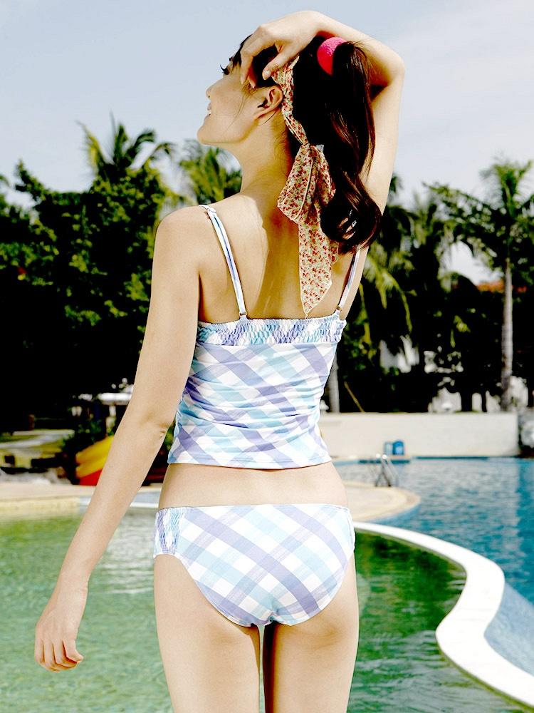 蓝色格子带披沙分体三宝贝件套-聚美优品-最泳衣性感热舞图片