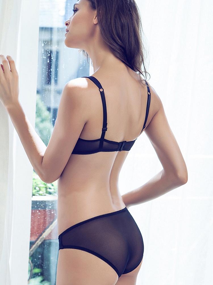 性感蕾丝边超薄内衣 全透明网纱刺绣文胸套装