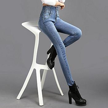 中国•高腰排扣牛仔裤337