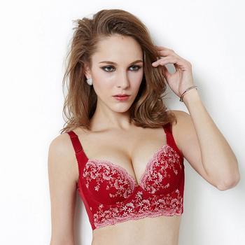 茜茜公主厚款蕾丝丰胸文胸左岸红