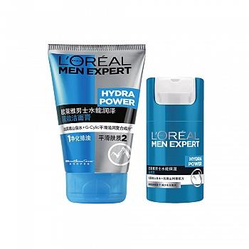 法国•欧莱雅 (L'Oreal) 男士水能保湿2件套(洁面膏100ml+滋润乳50ml)