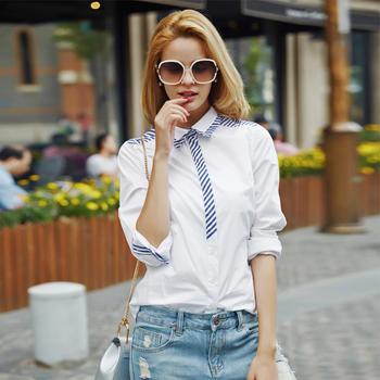 欧美修身衬衫白黑条