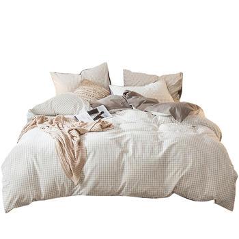 荻嘉茂 全棉水洗棉无印风床单款床品件套 白小格 多花型