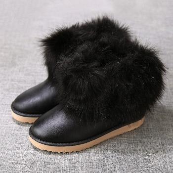 中国•娅莱娅短筒仿狐狸毛雪地靴黑色