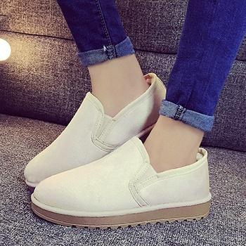 冬季新款套脚纯色棉鞋全色