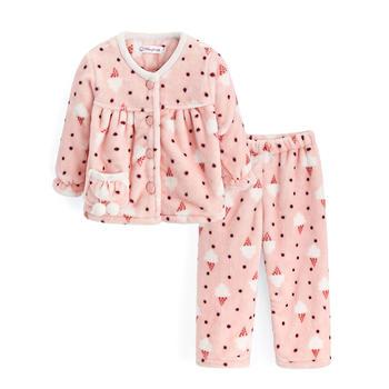 儿童保暖法兰绒睡衣 粉色雪糕
