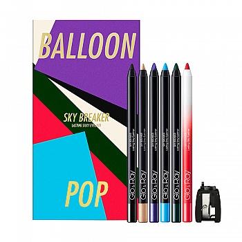 英国•光芮(Glo&Ray)彩色气球眼线笔礼盒(极黑300+槟粉302+曜紫306+晴蓝307+森绿308+玫瑰糖果309+削刀)