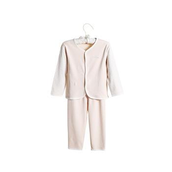 中国•澳斯贝贝婴儿彩棉桃心领套装浅棕