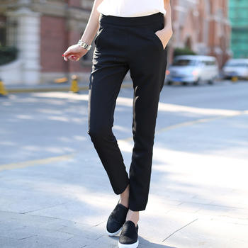 简?#22841;?#36523;显瘦黑色长裤