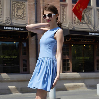 时尚迷你千鸟格无袖连衣裙蓝色