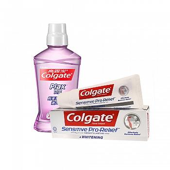 美国•高露洁(Colgate)贝齿鲜果薄荷漱口水500ml+高露洁(Colgate)多效防护牙膏110g