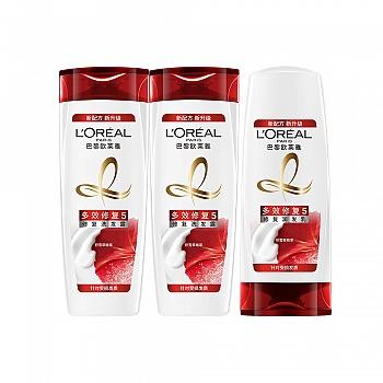 法国?欧莱雅 (L'Oreal)多效修复洗护3件组合(洗发露400ml*2+润发乳400ml)