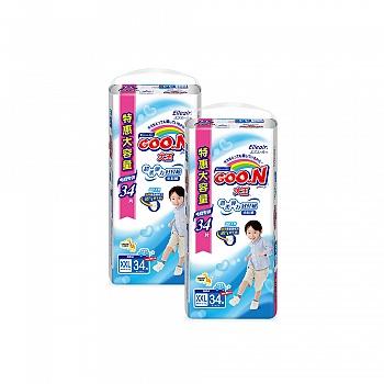 日本•GOO.N®大王 男宝宝用 短裤式纸尿裤 XXL34片 电商专供*2包