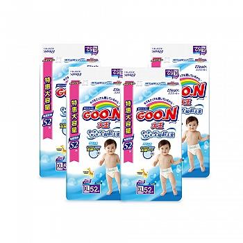 日本•GOO.N® 大王环贴式纸尿裤 维E系列 XL52片 电商专供*4包