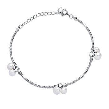 漂亮百合 925银镶石淡水珍珠手链