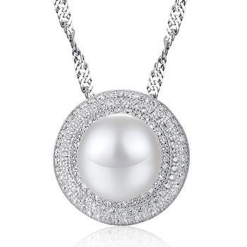 漂亮百合 925银珍珠吊坠  圆雅之美