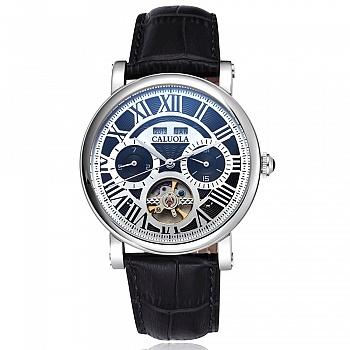 中国•卡罗莱银壳黑面全自动机械男腕表