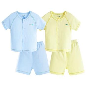 中国•优奇 纯棉夏装短袖套装 两套黄+蓝